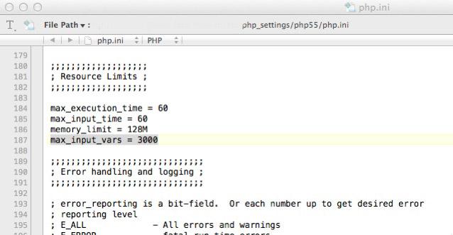 Diese eine Zeile in der php.ini löste das Problem unvollständiger Menüs, bzw. verloren gegangener Menüeinträge in Wordpress.
